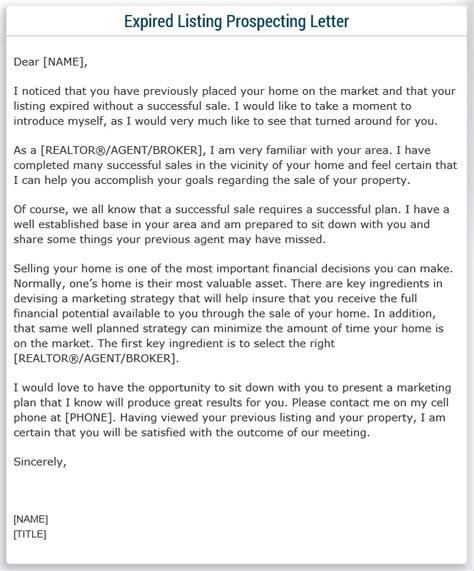 expired listing prospecting letter sle real estate