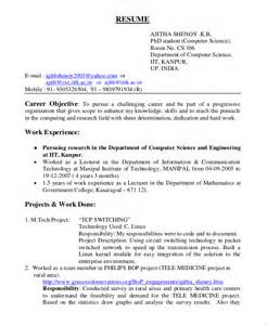 Resume Objective For Software Engineer by General Resume Objective Sle 9 Exles In Pdf