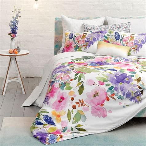 Pink Floral Curtains Wisteria Duvet Floral Watercolour Bedding Bluebellgray