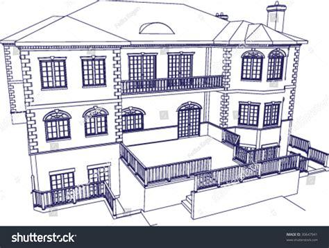 blueprint of a mansion mansion blueprint style illustration stock vector 30647941