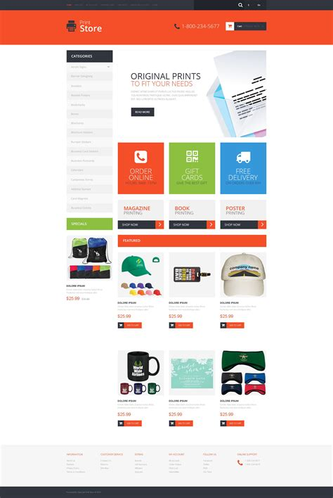 opencart responsive templates print shop responsive opencart template 51383