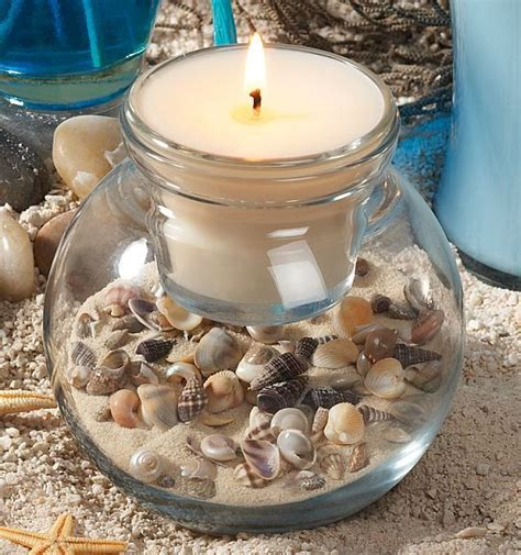 home d 233 cor with beach shells seashell candles shell and craft