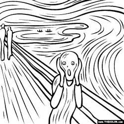 watercolor coloring book edvard munch s painting the scream coloring page