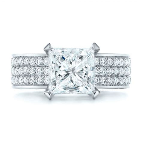 custom princess cut and pave engagement ring 102276