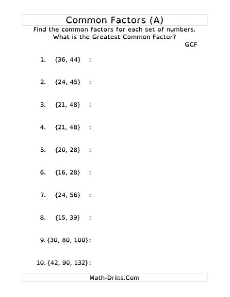 Common Division Worksheets by Common Factors And Greatest Common Factor Dy