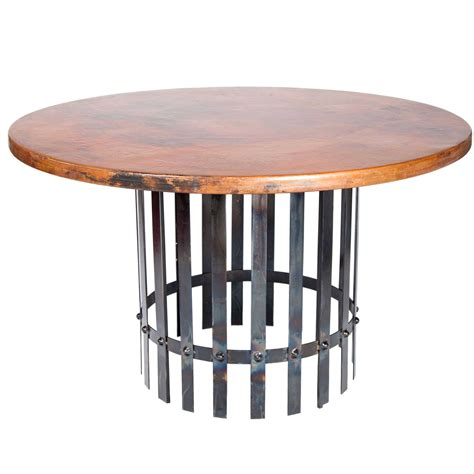 Hammered Copper Dining Table Pictured Here Is The Ashton Dining Table With Wrought Iron Base And 54 Quot Hammered Copper