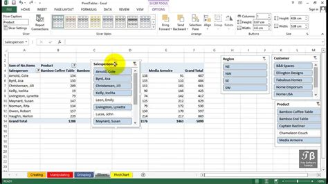 tutorial in excel 2013 pivottable using slicers excel 2013 beginners tutorial