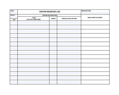 9 Visitors Log Templates Pdf Word Sle Templates Visitor Register Book Template