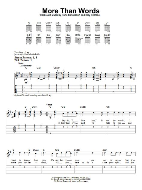 tutorial guitar more than words more than words sheet music by extreme easy guitar tab
