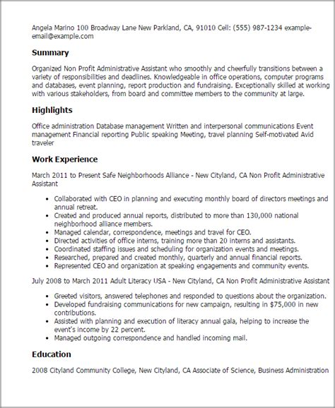 non profit administrative assistant resume template best