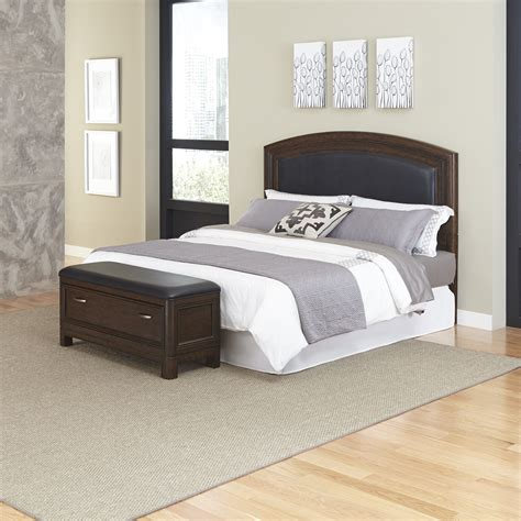 King Leather Headboard Home Styles Crescent Hill King Leather Upholstered Headboard And Upholstered Bench Home