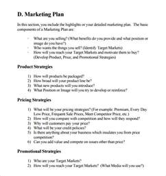 promotional strategy template sle marketing business plan template 7 free