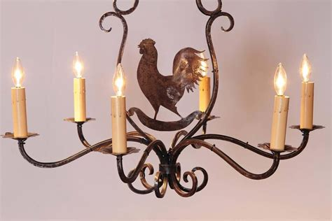 Six Light French Polished Iron Chandelier With Rooster Rooster Chandelier