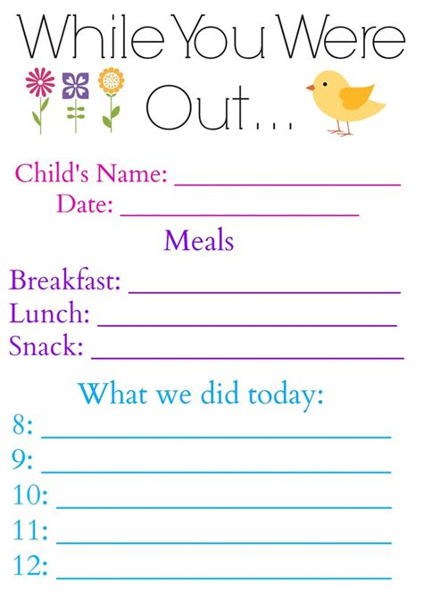 While You Were Out Daily Log Form For Babysitter Or Nanny Hey Nanny Nanny Pinterest Babysitting Log Templates