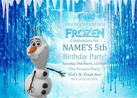printable olaf party invitations frozen olaf birthday party invitation kids birthday custom