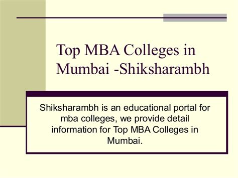 Mba In Information Technology Colleges In Mumbai by Top Mba Colleges In Mumbai Shiksharambh