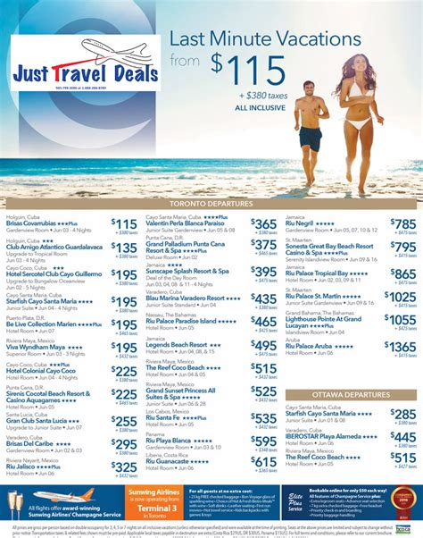 last minute sell vacations from 115 toronto ottawa departures