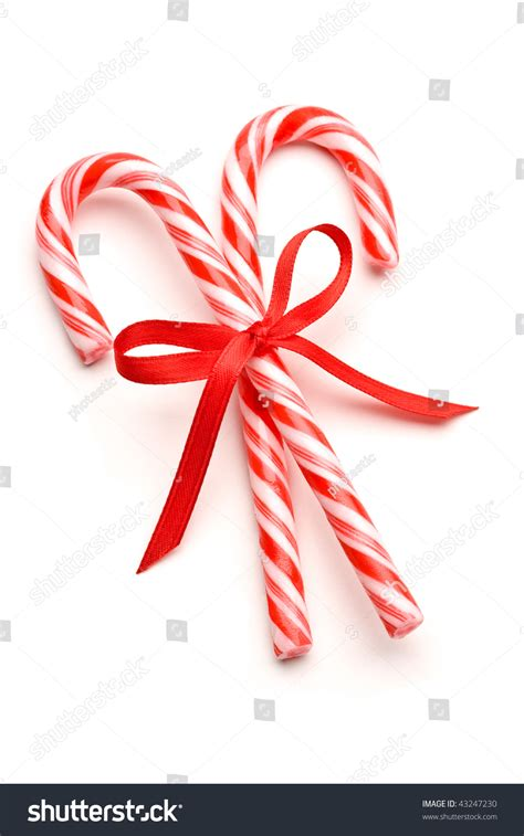 outdoor candycane ribbon two canes ribbon stock photo 43247230