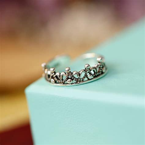 100 925 sterling silver princess crown ring weeding rings