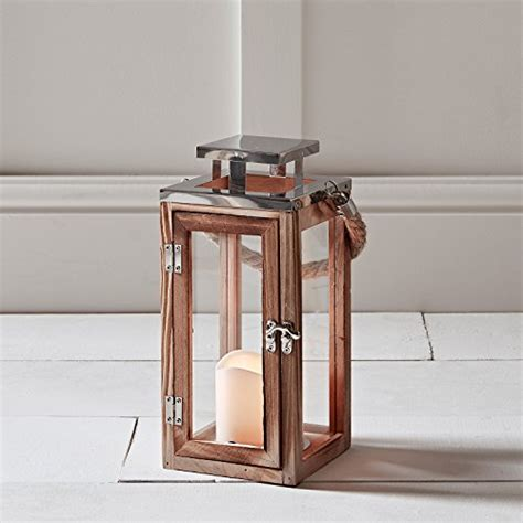 lanterna candela lanterna in legno con candela led a pile e manico di corda