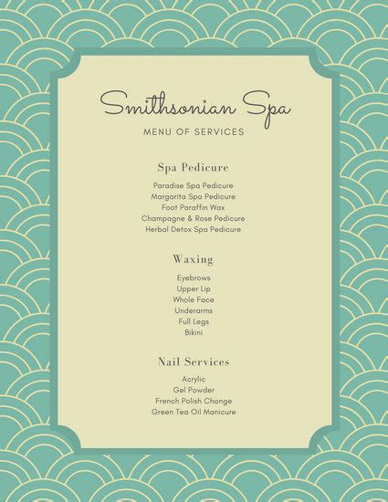 Pink Floral Patterned Spa Menu Templates By Canva Spa Menu Template
