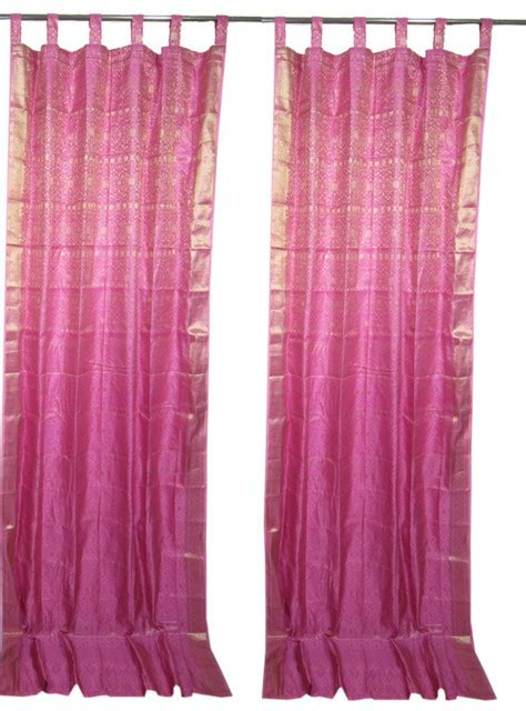 2 india curtains mexican pink brocade sari drapes golden border window treatment asian curtains
