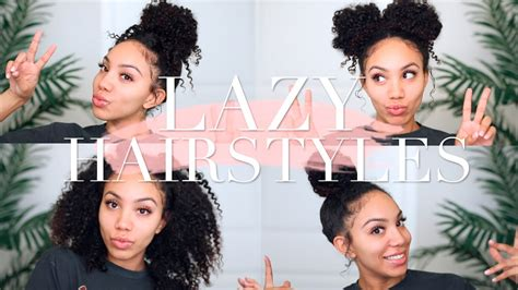 lazy hairstyles  curly hair quick easy