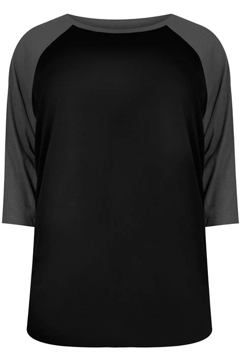 Contrast Raglan Sleeve T Shirt black charcoal 3 4 sleeve t shirt with contrast raglan