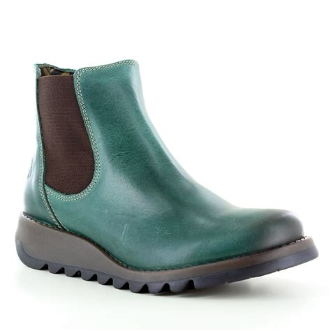green boots fly salv womens leather chelsea boot petrol green
