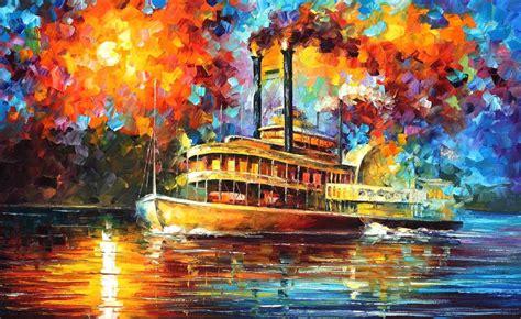 steamboat art steamboat by leonid afremov by leonidafremov on deviantart