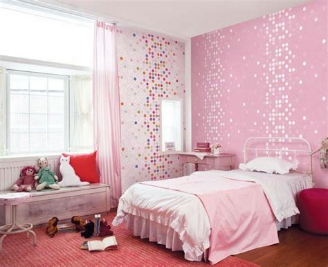 kids room cute pink dotty wallpaper girls bedroom home design