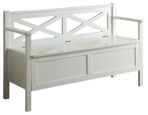 white wooden storage bench monarch specialties transitional solid wood bench with