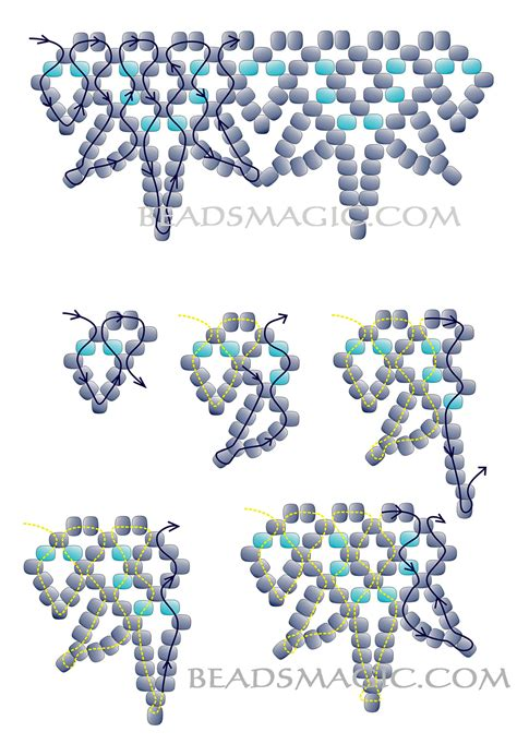 free pattern for beaded necklace blue snowflakes