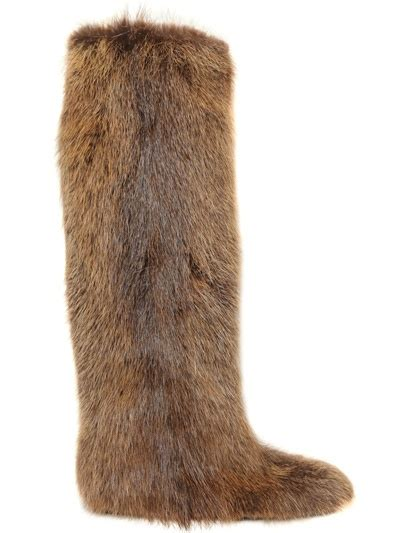 beaver fur slippers lyst marni beaver fur high boots in brown