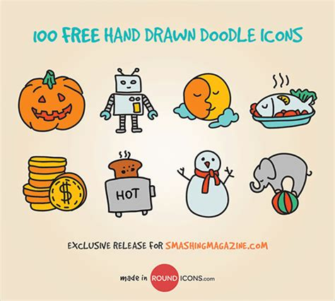 doodle article 100 handsome doodle icons freebie