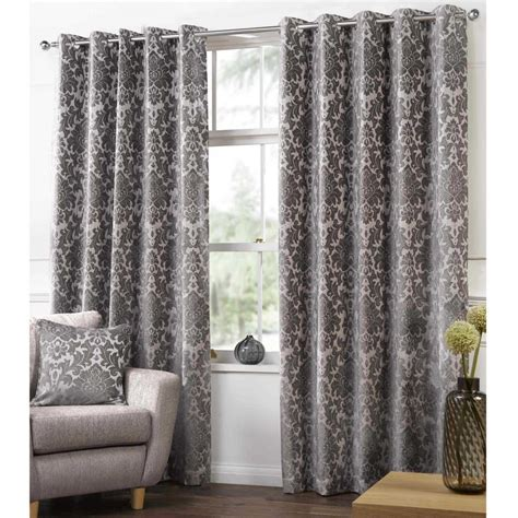 damask curtain camden damask latte woven chenille lined eyelet curtains