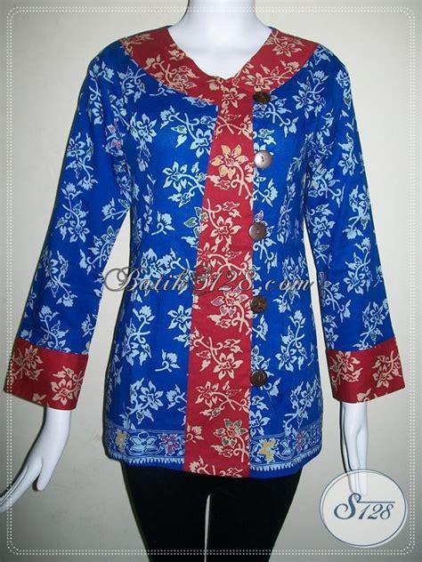 Kemeja Wanita Motif Bunga 128 blus batik warna biru motif bunga cantik baju batik wanita