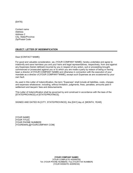 indemnification letter template letter of indemnification to former director template