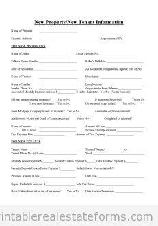 New Tenant Information Form Sheet Printable Sample Pet Registration Form Template