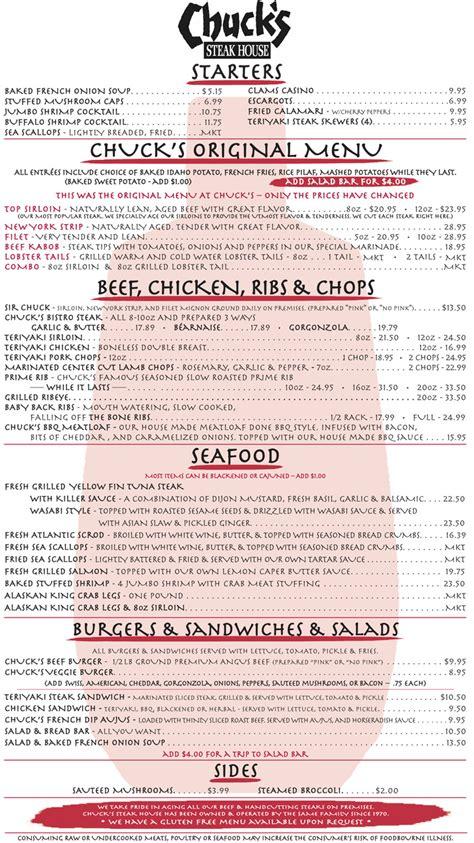 chuck s steak house menu menu chuck s steak house