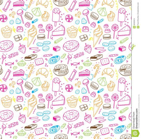 pattern food texture hand drawn sweets and candies pattern vector doodles