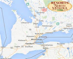 muskoka canada map muskoka resorts accommodation ontario vacation rental