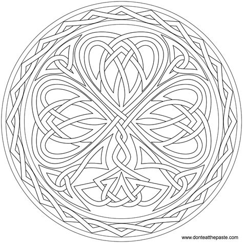shamrock mandala coloring pages don t eat the paste knotted shamrock to color or embroider