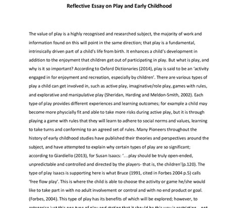 Educating Play Essay by Reflective Essay On Play And Early Childhood Education And Teaching Marked By