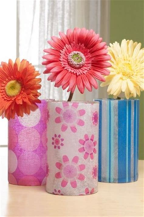 Patterned Tissue Paper Decoupage - tissue paper decoupage vases use photo printed on tissue
