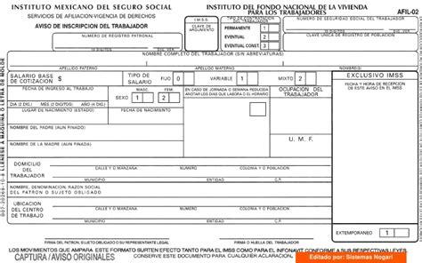 hoja del imss de mi salario afil 02 aviso de inscripci 211 n del trabajador