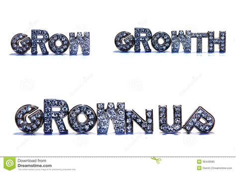 5 Letter Words Grown growth related words on white background stock image