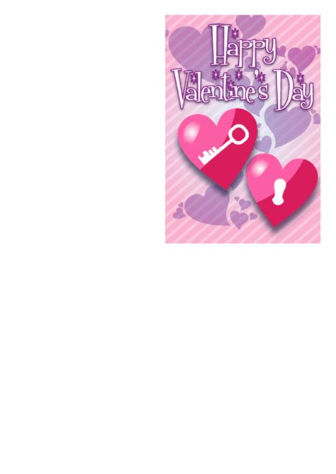 Valentines Card Template Pdf by Lock And Key Hearts Card Template Printable Pdf