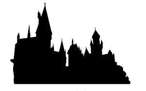 set of 8 x large harry potter hogwarts skyline silhouettes