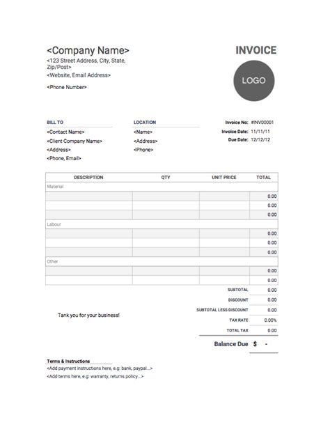 Contractor Invoice Template Download Use For Free Construction Invoice Template